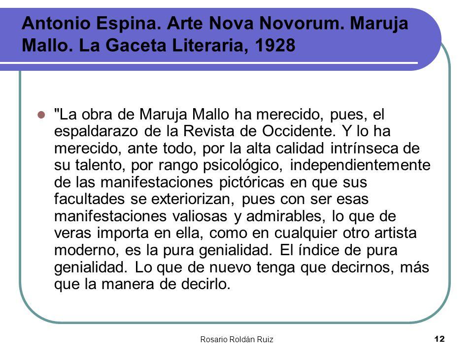 Antonio Espina. Arte Nova Novorum. Maruja Mallo