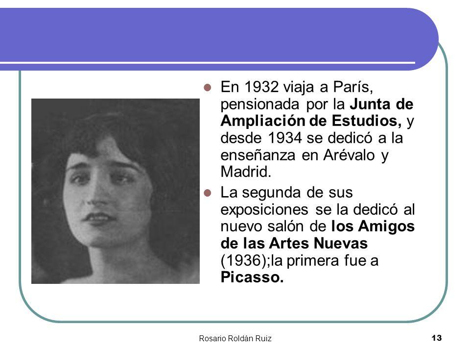 En 1932 viaja a París, pensionada por la Junta de Ampliación de Estudios, y desde 1934 se dedicó a la enseñanza en Arévalo y Madrid.