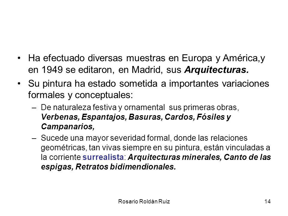 Ha efectuado diversas muestras en Europa y América,y en 1949 se editaron, en Madrid, sus Arquitecturas.