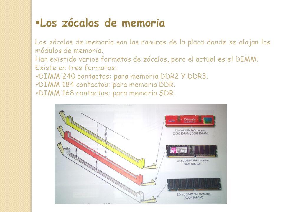 Los zócalos de memoria Los zócalos de memoria son las ranuras de la placa donde se alojan los módulos de memoria.
