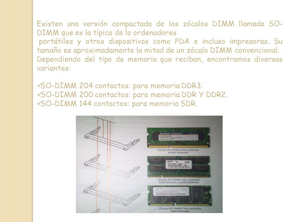 Existen una versión compactada de los zócalos DIMM llamada SO-DIMM que es la típica de lo ordenadores
