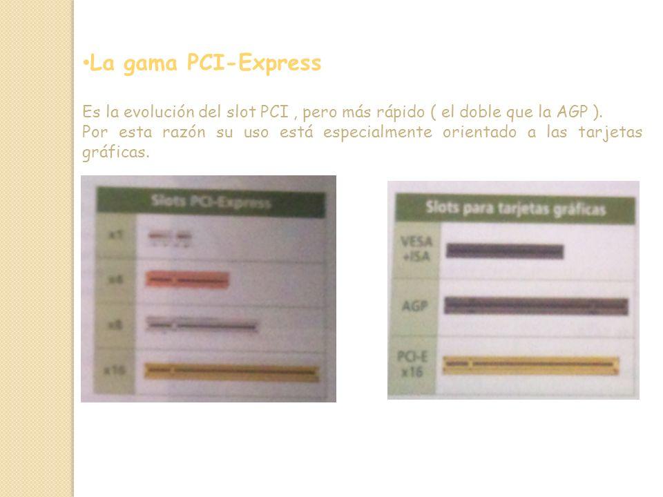 La gama PCI-Express Es la evolución del slot PCI , pero más rápido ( el doble que la AGP ).