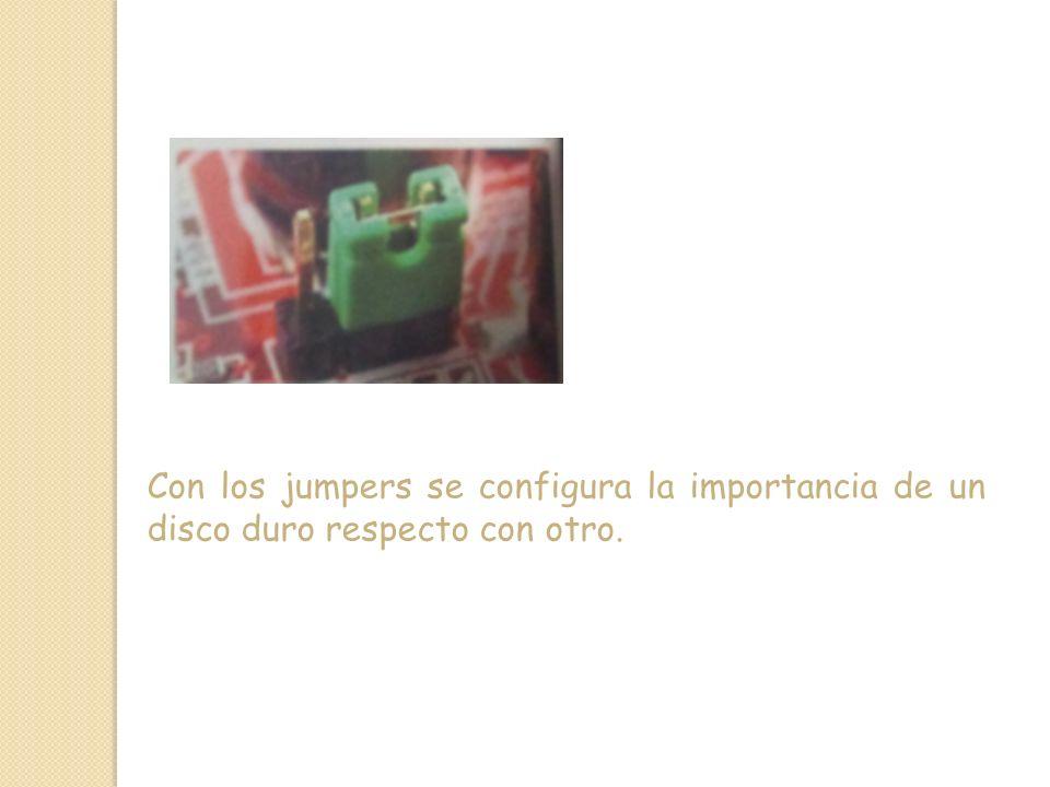 Con los jumpers se configura la importancia de un disco duro respecto con otro.
