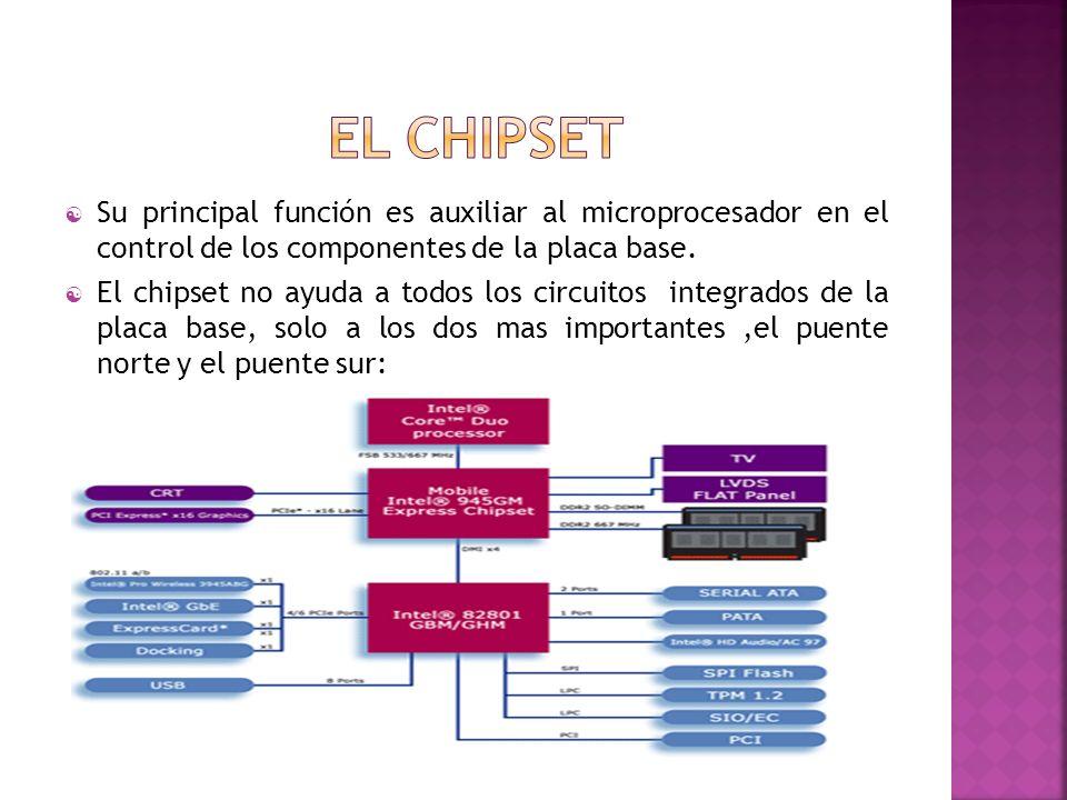El chipset Su principal función es auxiliar al microprocesador en el control de los componentes de la placa base.