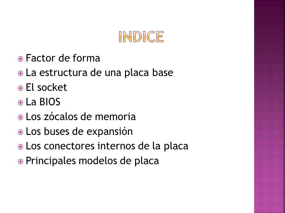 INDICE Factor de forma La estructura de una placa base El socket