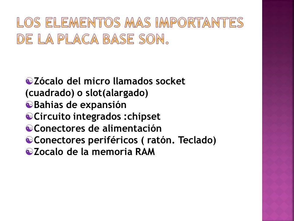 Los elementos mas importantes de la placa base son.