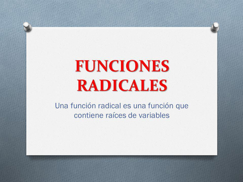 Una función radical es una función que contiene raíces de variables