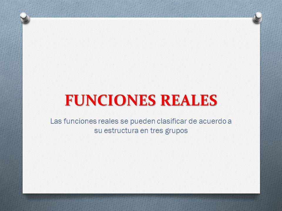 FUNCIONES REALES Las funciones reales se pueden clasificar de acuerdo a su estructura en tres grupos.