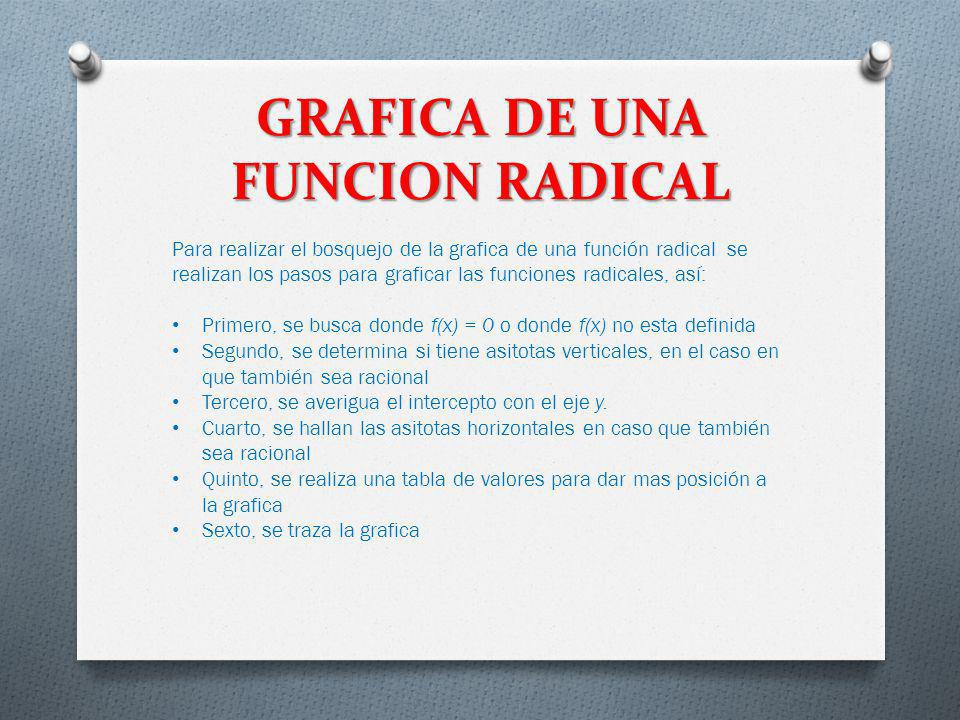GRAFICA DE UNA FUNCION RADICAL
