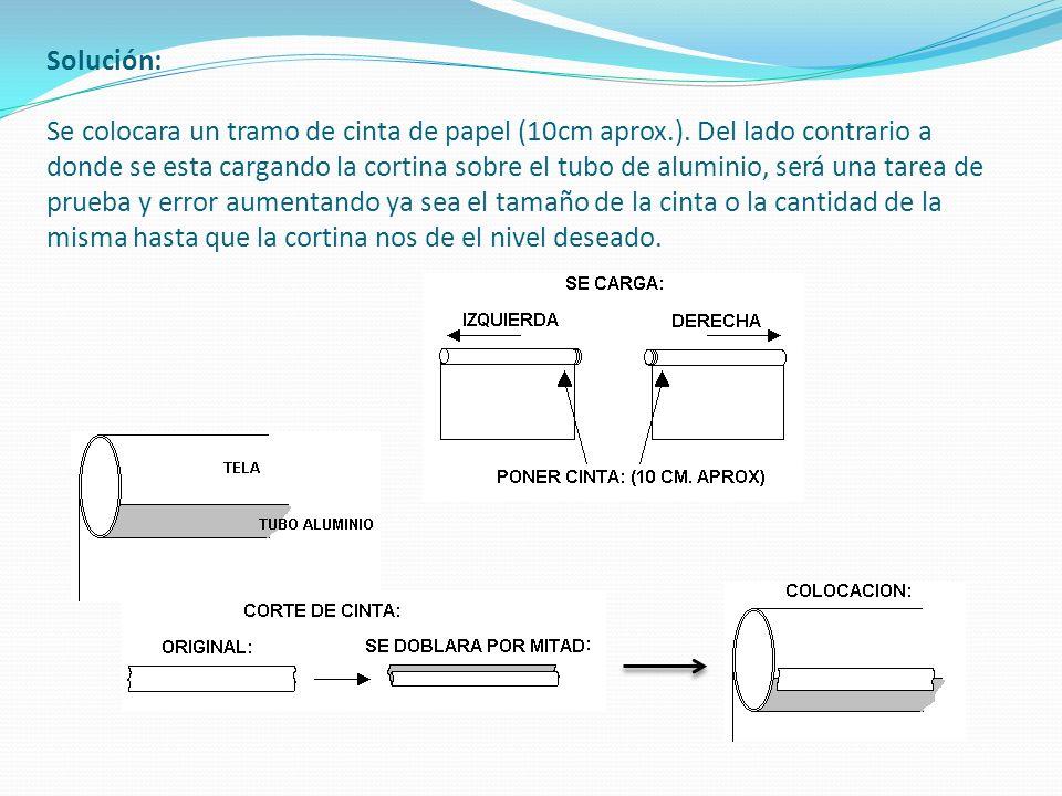 Solución: Se colocara un tramo de cinta de papel (10cm aprox. )