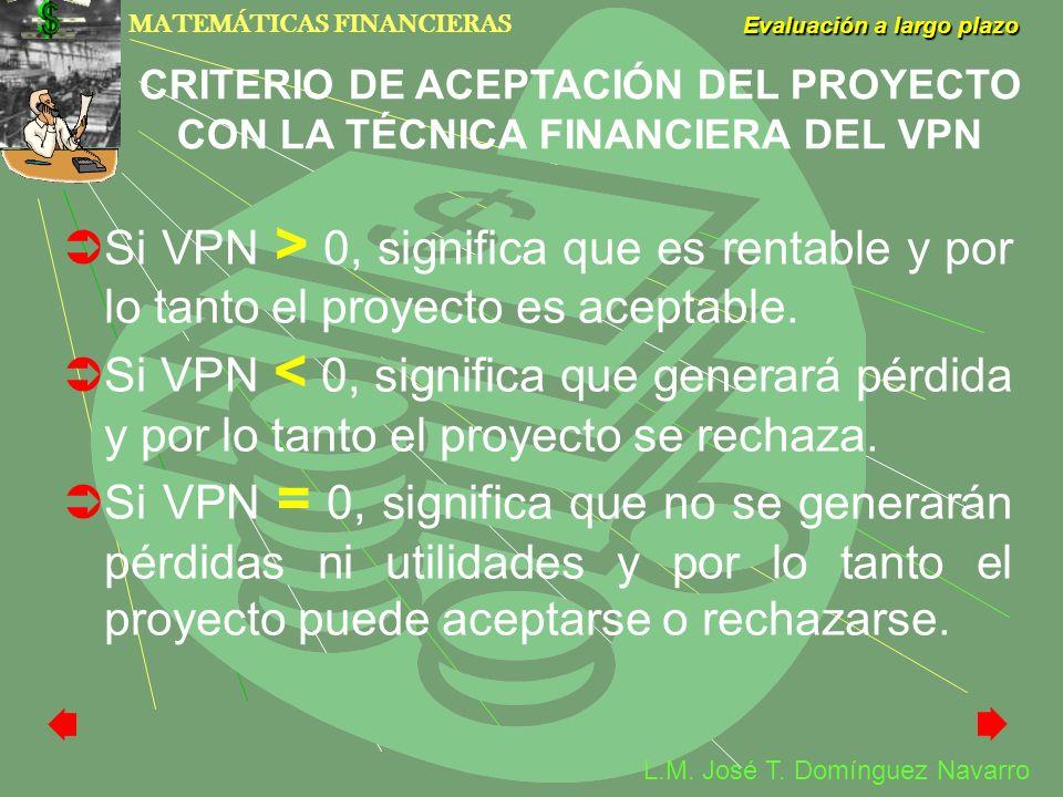 CRITERIO DE ACEPTACIÓN DEL PROYECTO CON LA TÉCNICA FINANCIERA DEL VPN
