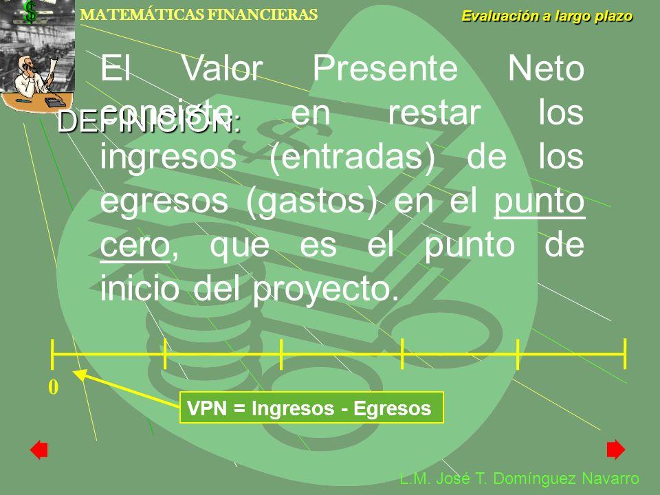 El Valor Presente Neto consiste en restar los ingresos (entradas) de los egresos (gastos) en el punto cero, que es el punto de inicio del proyecto.