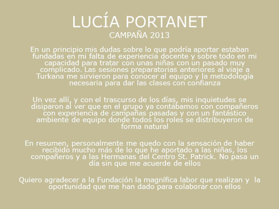 LUCÍA PORTANET CAMPAÑA 2013