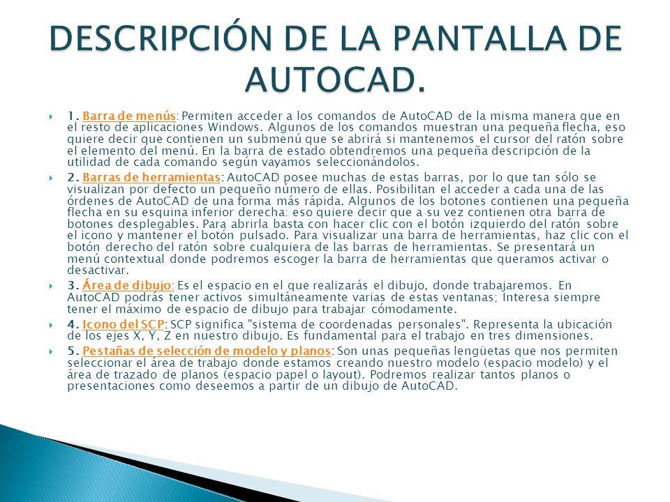 DESCRIPCIÓN DE LA PANTALLA DE AUTOCAD.