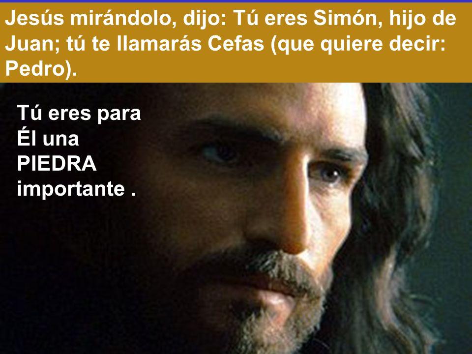 Jesús mirándolo, dijo: Tú eres Simón, hijo de Juan; tú te llamarás Cefas (que quiere decir: Pedro).