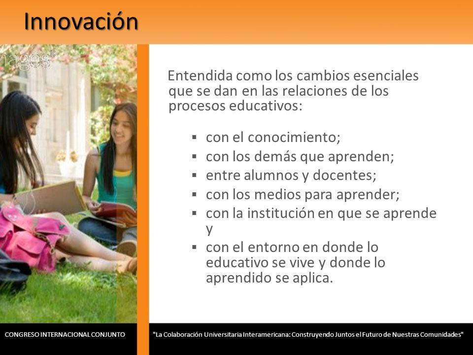 Innovación Entendida como los cambios esenciales que se dan en las relaciones de los procesos educativos: