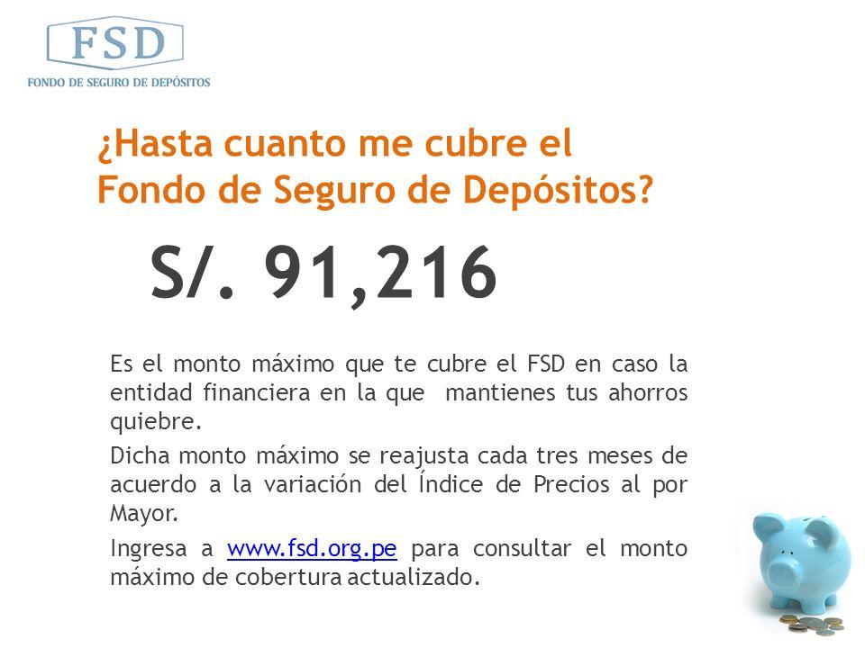S/. 91,216 ¿Hasta cuanto me cubre el Fondo de Seguro de Depósitos