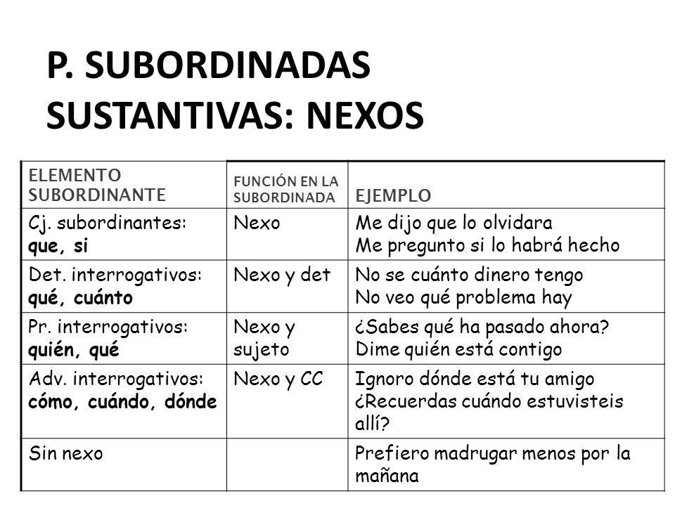 P. subordinadas sustantivas: nexos
