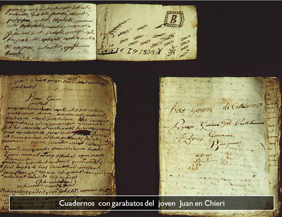 Cuadernos con garabatos del joven Juan en Chieri