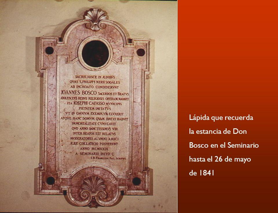 Lápida que recuerda la estancia de Don Bosco en el Seminario hasta el 26 de mayo de 1841