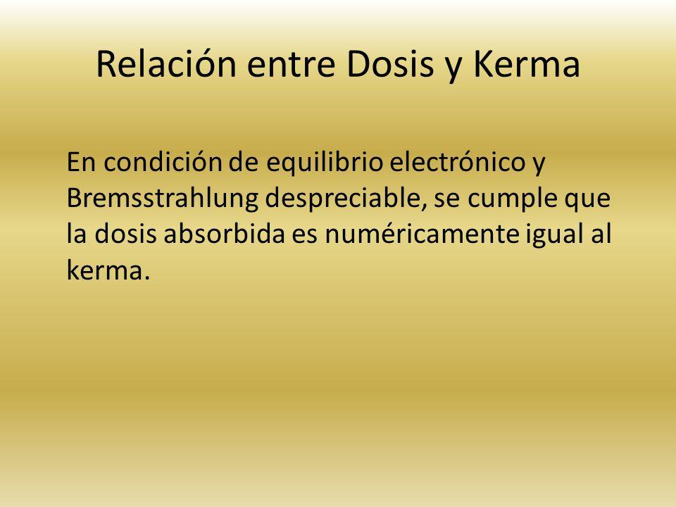 Relación entre Dosis y Kerma
