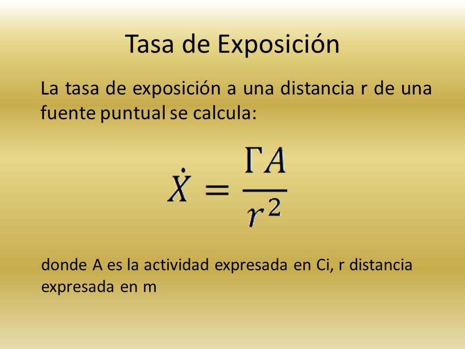 Tasa de Exposición La tasa de exposición a una distancia r de una fuente puntual se calcula: donde A es la actividad expresada en Ci, r distancia.