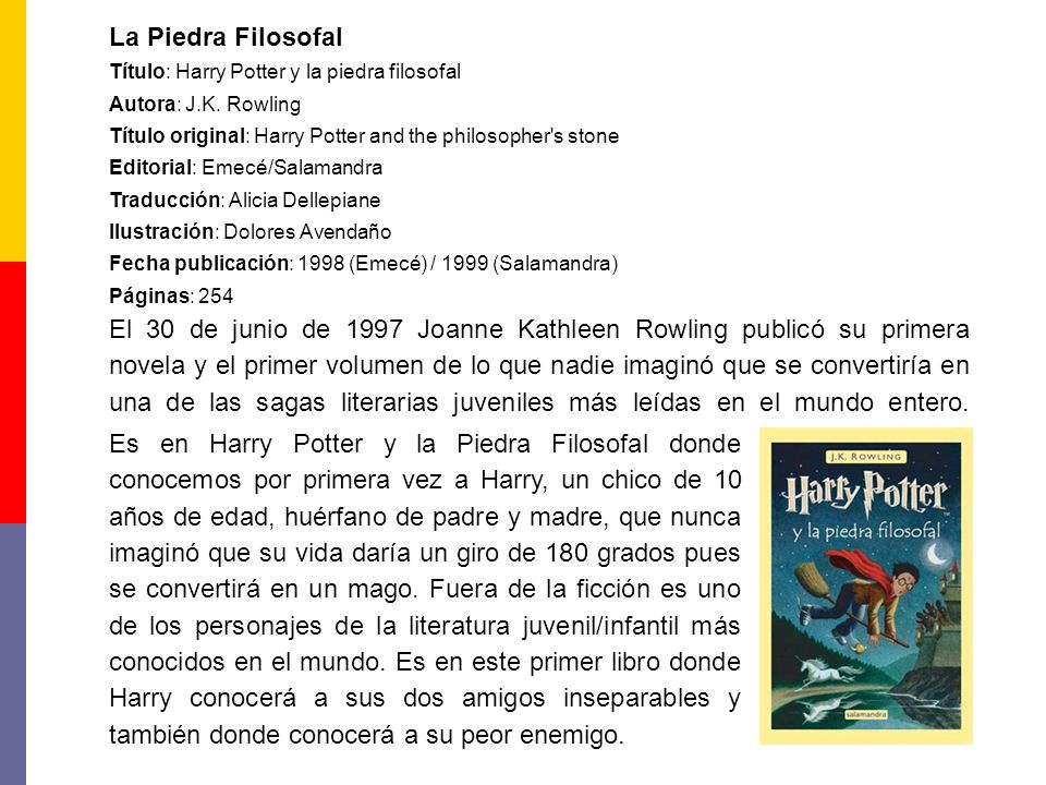 La Piedra Filosofal Título: Harry Potter y la piedra filosofal. Autora: J.K. Rowling. Título original: Harry Potter and the philosopher s stone.