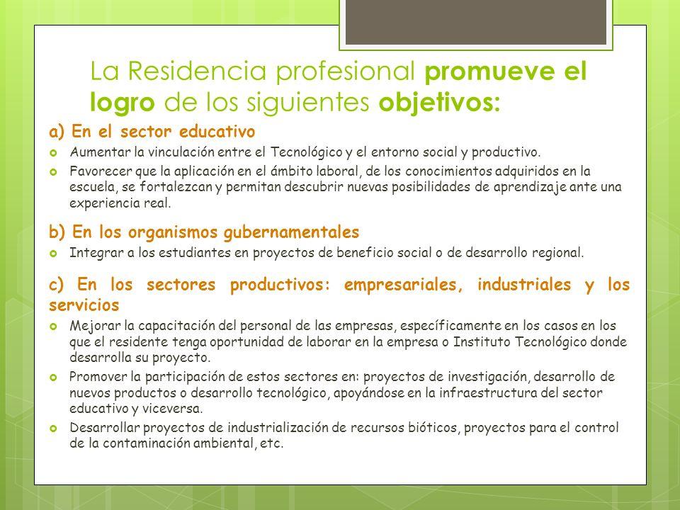 La Residencia profesional promueve el logro de los siguientes objetivos: