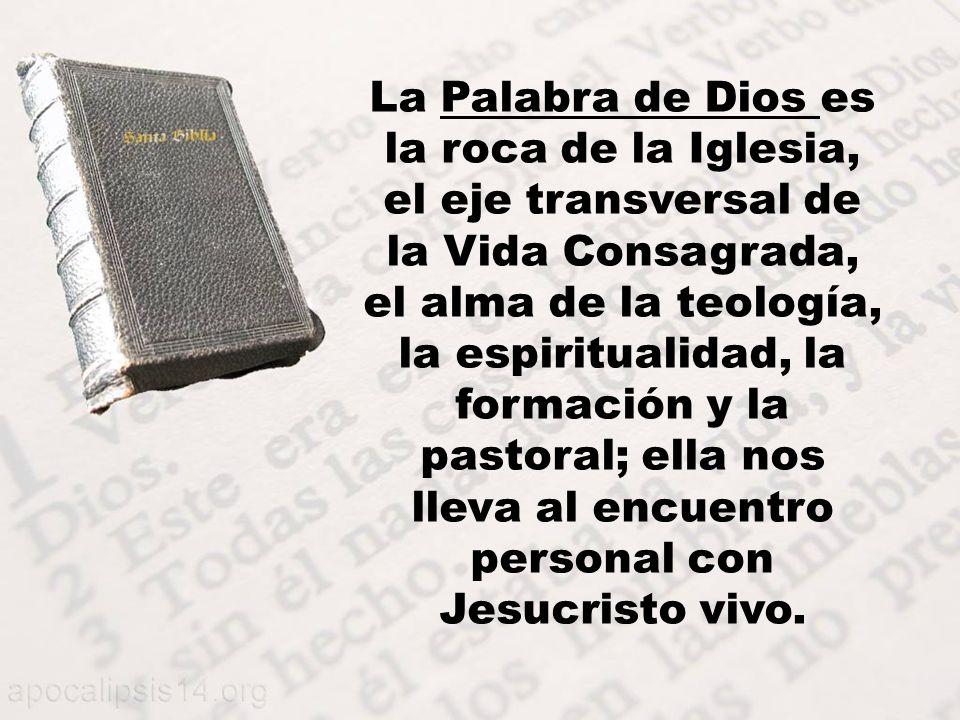 La Palabra de Dios es la roca de la Iglesia, el eje transversal de la Vida Consagrada, el alma de la teología, la espiritualidad, la formación y la pastoral; ella nos lleva al encuentro personal con Jesucristo vivo.