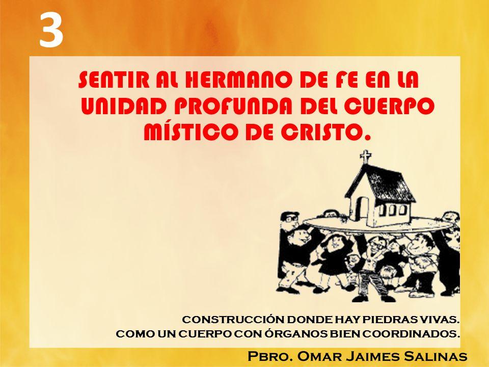 3 SENTIR AL HERMANO DE FE EN LA UNIDAD PROFUNDA DEL CUERPO MÍSTICO DE CRISTO. CONSTRUCCIÓN DONDE HAY PIEDRAS VIVAS.