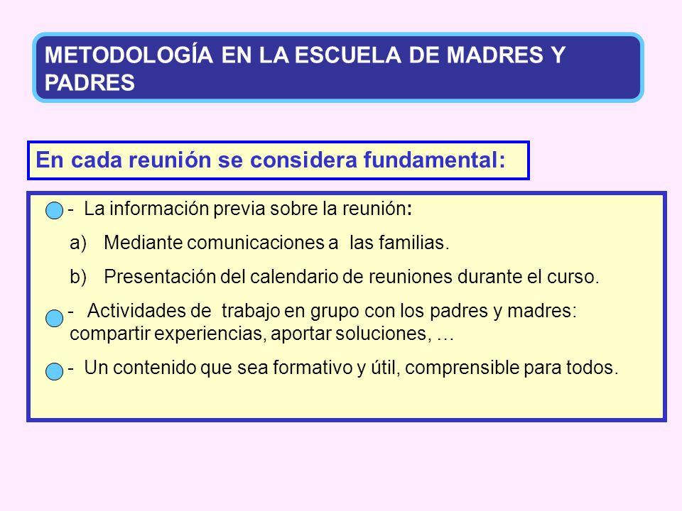 METODOLOGÍA EN LA ESCUELA DE MADRES Y PADRES
