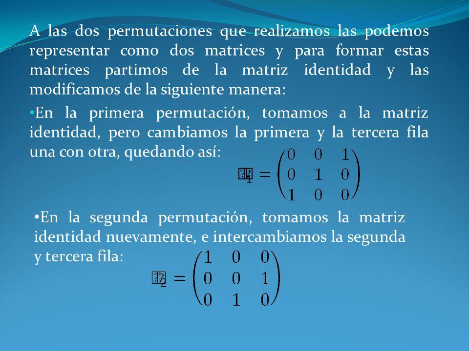 A las dos permutaciones que realizamos las podemos representar como dos matrices y para formar estas matrices partimos de la matriz identidad y las modificamos de la siguiente manera: