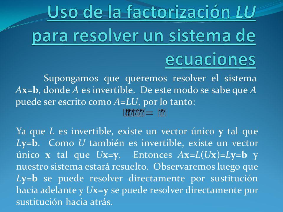 Uso de la factorización LU para resolver un sistema de ecuaciones