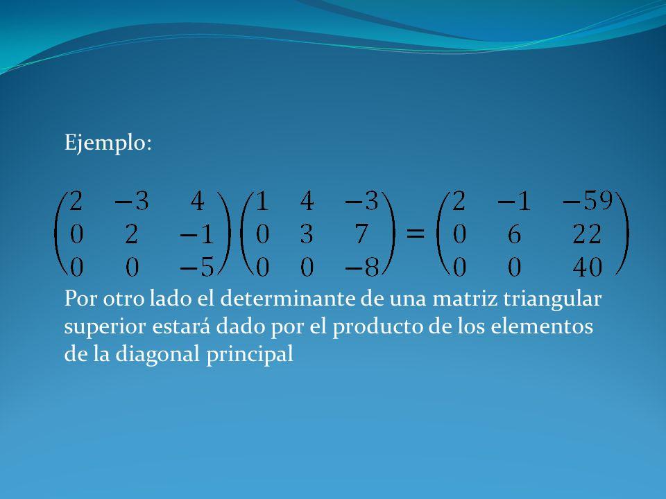 Ejemplo:Por otro lado el determinante de una matriz triangular superior estará dado por el producto de los elementos de la diagonal principal.