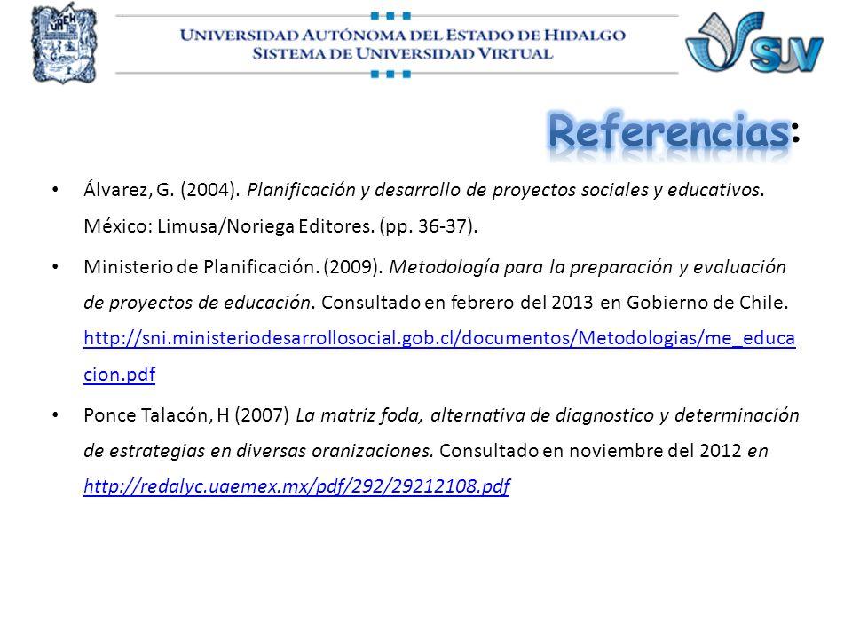 Referencias: Álvarez, G. (2004). Planificación y desarrollo de proyectos sociales y educativos. México: Limusa/Noriega Editores. (pp. 36-37).