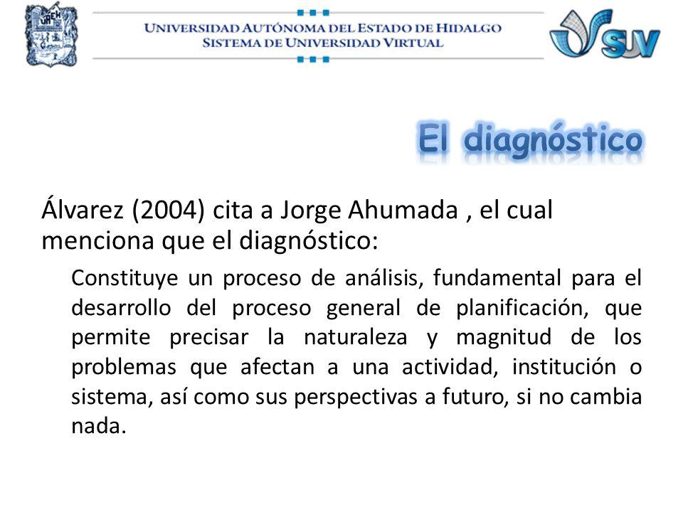 El diagnóstico Álvarez (2004) cita a Jorge Ahumada , el cual menciona que el diagnóstico: