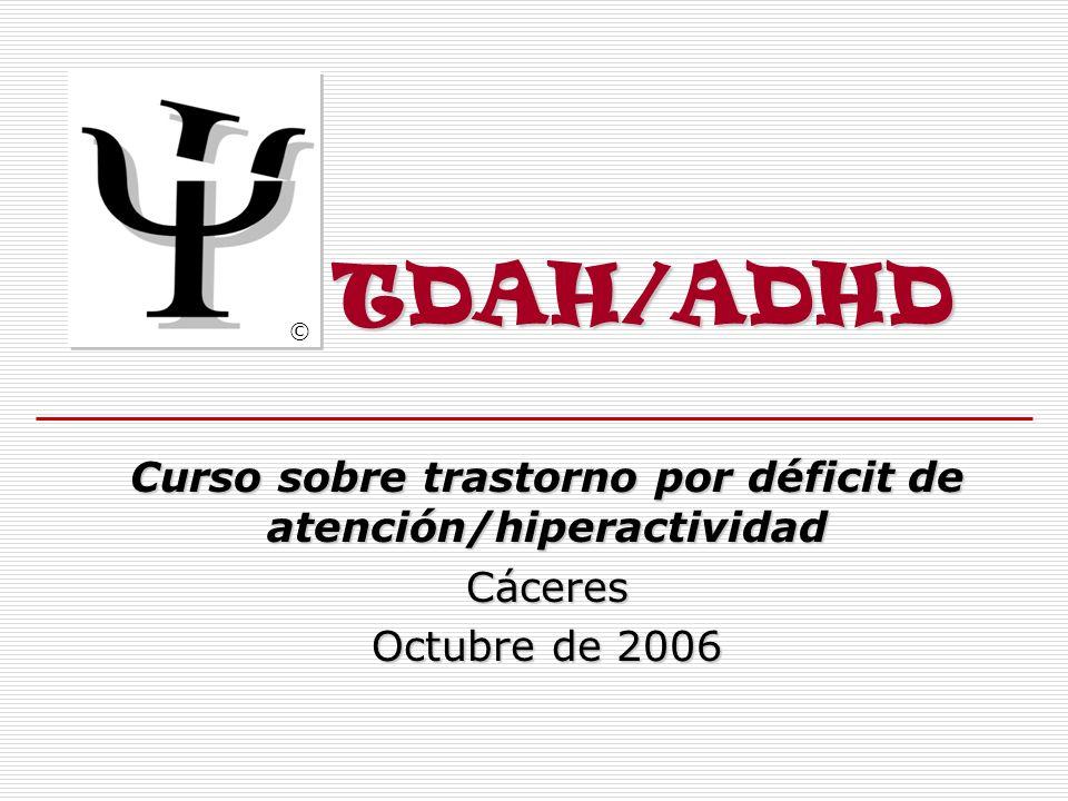 Curso sobre trastorno por déficit de atención/hiperactividad