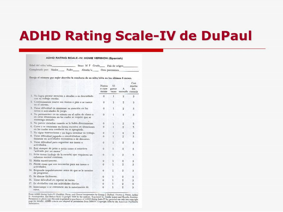 ADHD Rating Scale-IV de DuPaul
