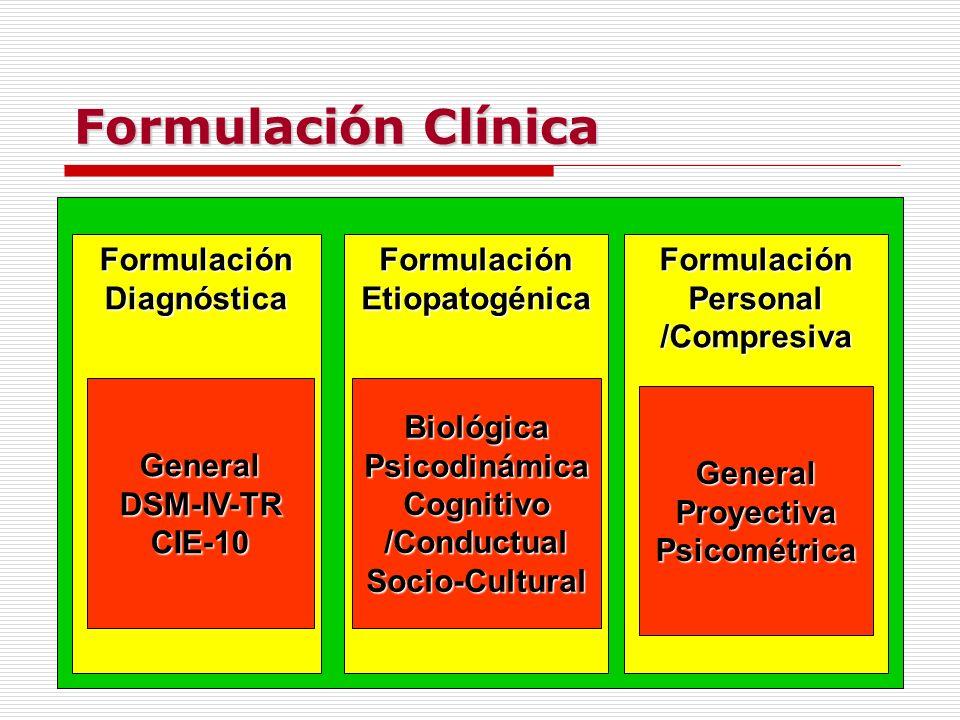 Formulación Clínica Formulación Diagnóstica Formulación Etiopatogénica