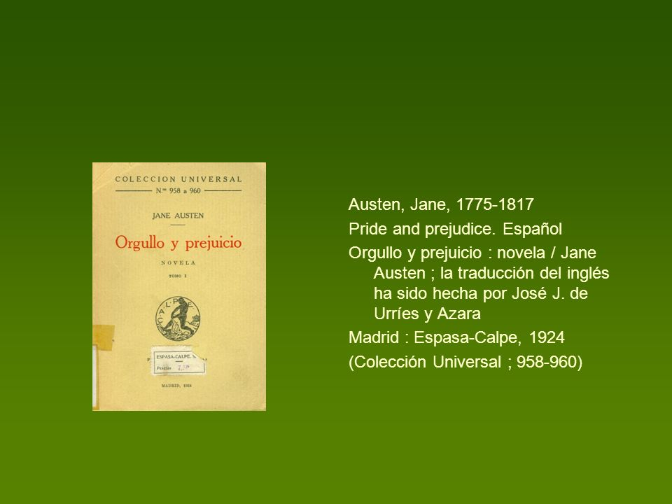 Austen, Jane, 1775-1817 Pride and prejudice. Español.