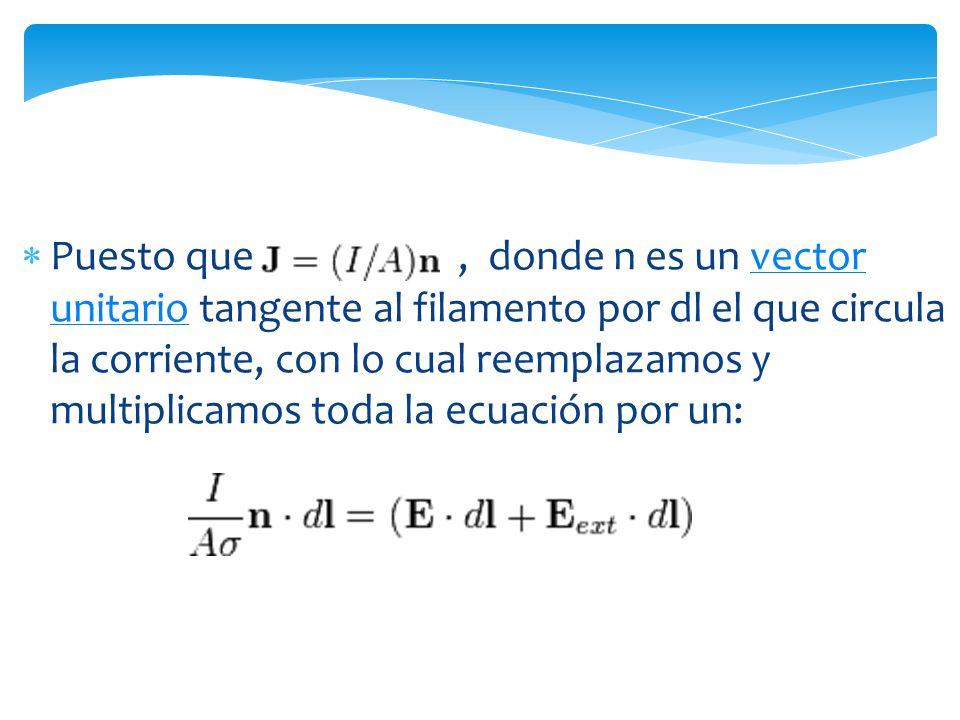 Puesto que , donde n es un vector unitario tangente al filamento por dl el que circula la corriente, con lo cual reemplazamos y multiplicamos toda la ecuación por un: