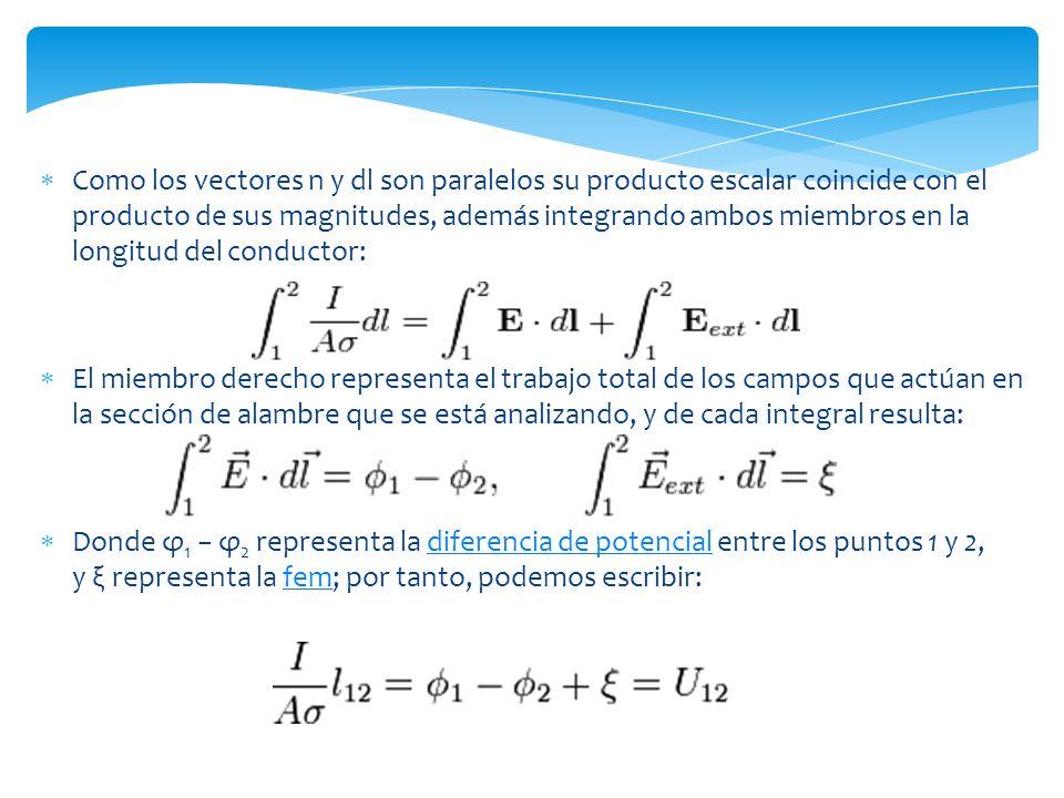 Como los vectores n y dl son paralelos su producto escalar coincide con el producto de sus magnitudes, además integrando ambos miembros en la longitud del conductor: