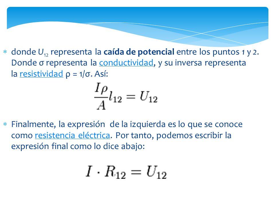 donde U12 representa la caída de potencial entre los puntos 1 y 2