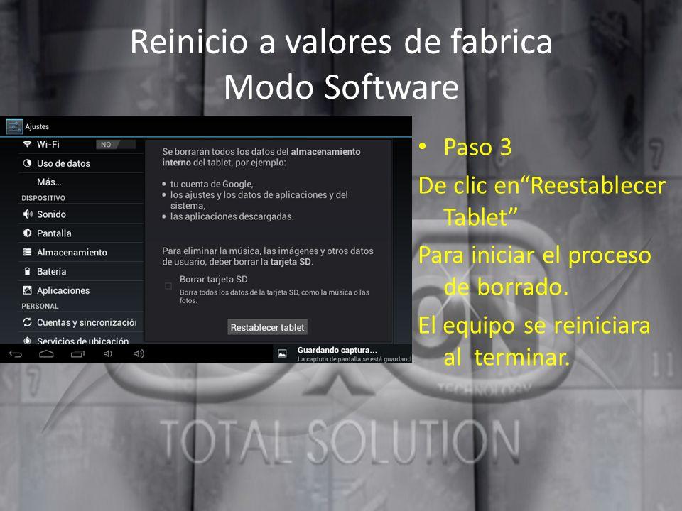Reinicio a valores de fabrica Modo Software