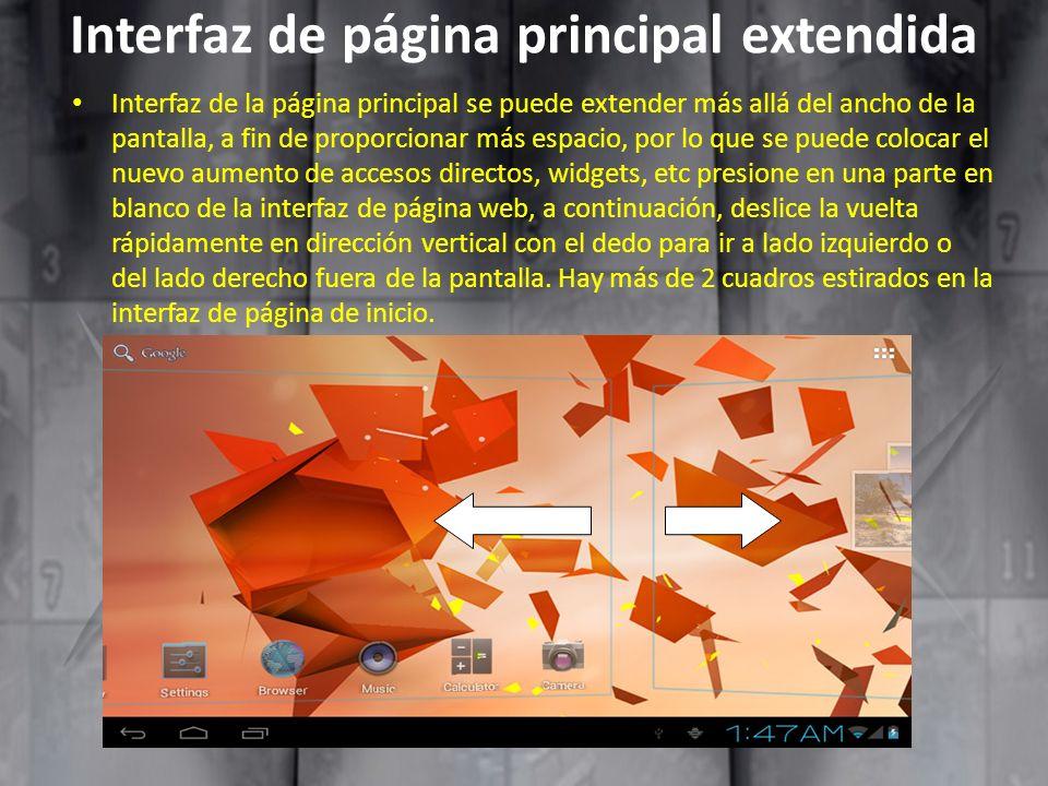 Interfaz de página principal extendida