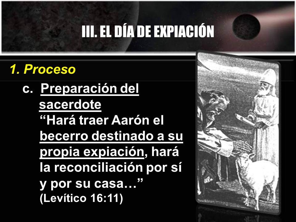 III. EL DÍA DE EXPIACIÓN 1. Proceso c. Preparación del sacerdote