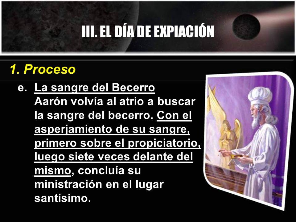 III. EL DÍA DE EXPIACIÓN 1. Proceso La sangre del Becerro