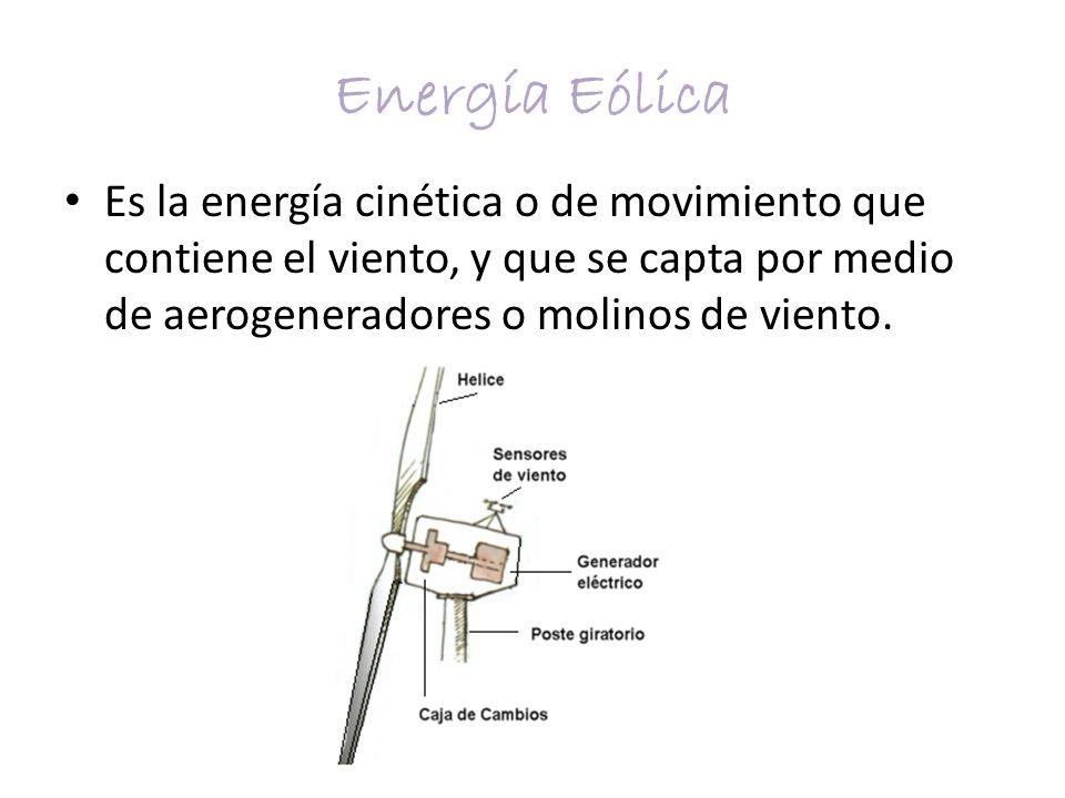 Energía Eólica Es la energía cinética o de movimiento que contiene el viento, y que se capta por medio de aerogeneradores o molinos de viento.