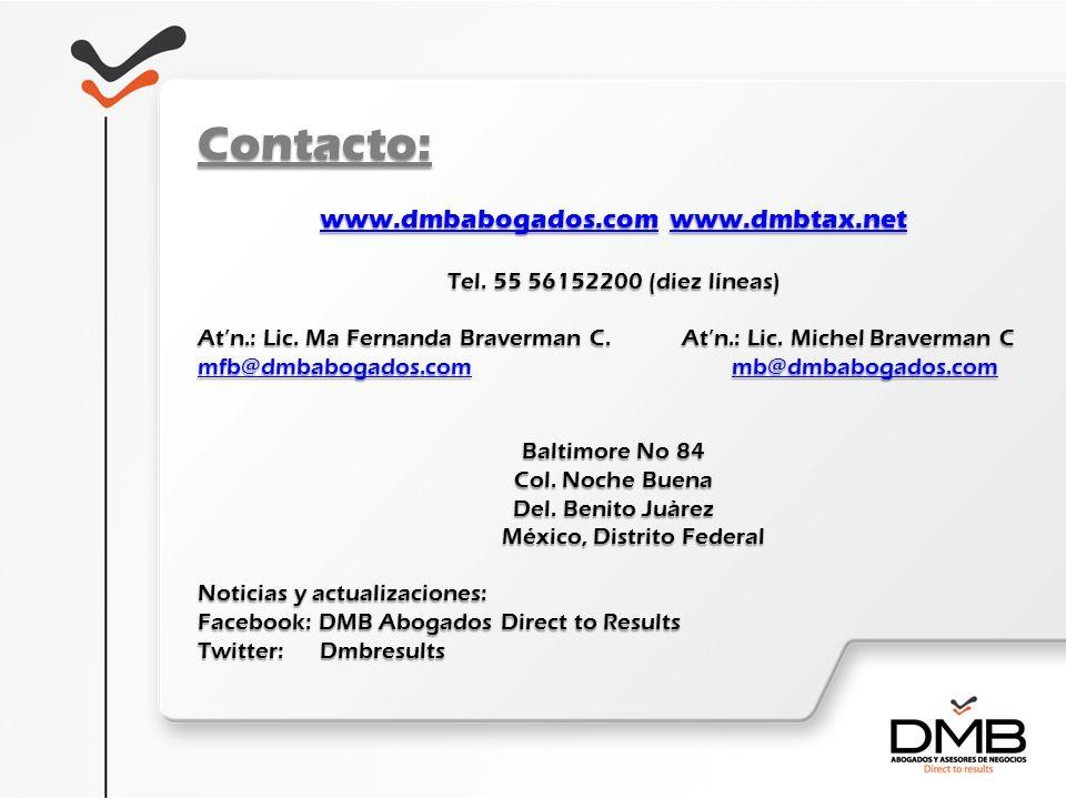 Contacto: www.dmbabogados.com www.dmbtax.net