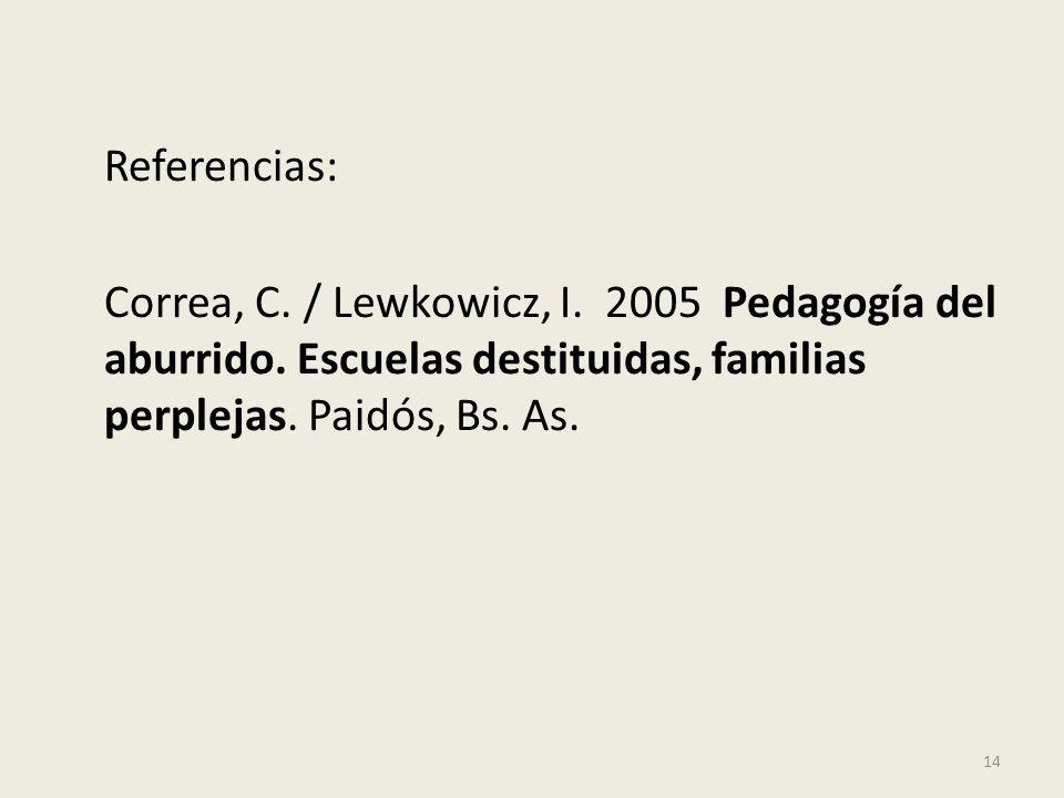 Referencias: Correa, C. / Lewkowicz, I. 2005 Pedagogía del aburrido